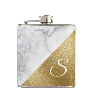 White Marble and Gold Foil Look Flask