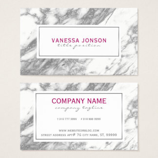 White Marble And Gray Glitter Business Card