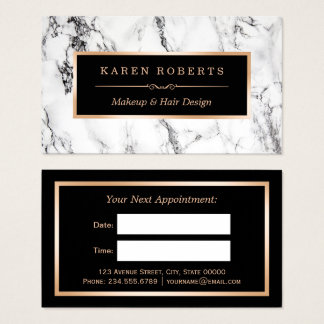 White Marble Beauty Salon Hair Dresser Appointment Business Card