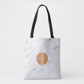 White marble copper geometric monogram books tote bag