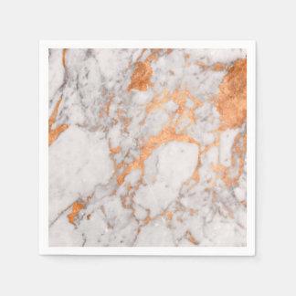 White Marble & Copper Paper Napkins