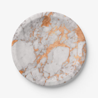White Marble & Copper Paper Plate 7 Inch Paper Plate