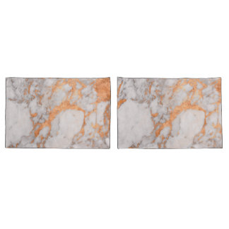 White Marble & Copper Pillow Cases