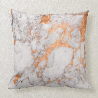 White Marble & Copper Throw Pillow