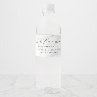 White Marble Custom Wedding Water Bottle Labels