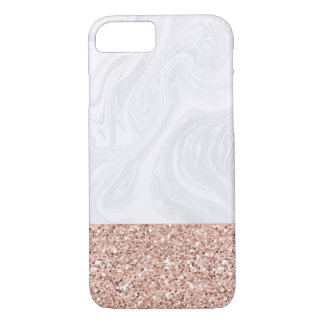 White Marble Dipped in Faux Rose Gold Glitter iPhone 8/7 Case
