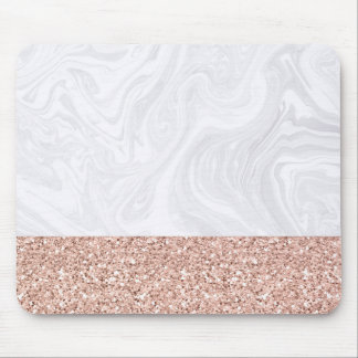 White Marble Dipped in Rose Gold Glitter Mousepad