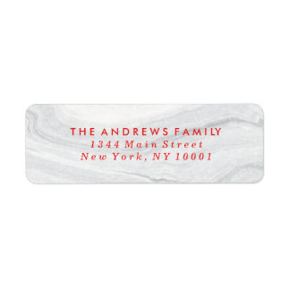 White Marble Holiday Address Labels in Red