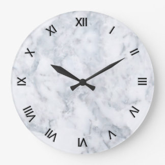 White Marble Look Large Clock
