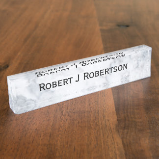 White Marble Look Nameplate