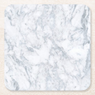 White Marble Look Square Paper Coaster