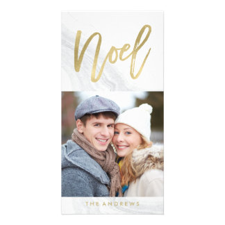 White Marble Noel | Holiday Photo Card in Gold