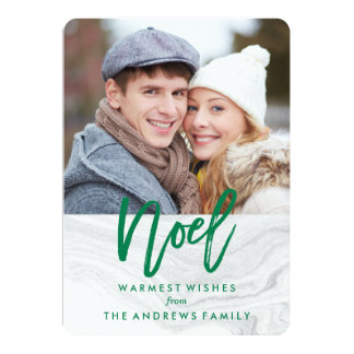 White Marble Noel Holiday Photo Card in Green 13 Cm X 18 Cm Invitation Card