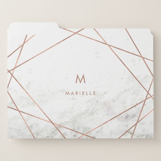 White Marble Rose Gold Geometric And Monogram File