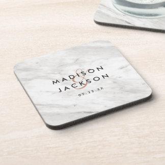 White Marble & Rose Gold Modern Wedding Monogram Coaster