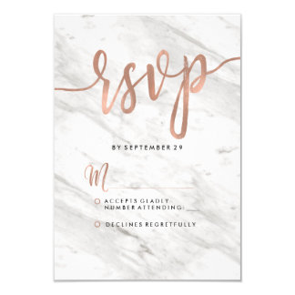 White Marble & Rose Gold Modern Wedding RSVP Card