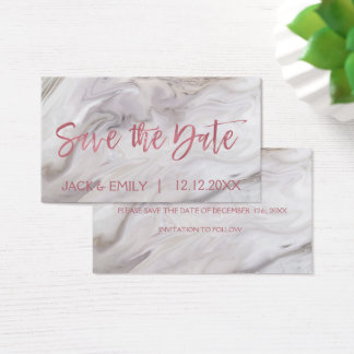 White Marble Rose Gold Pink Foil Save the Date Business Card