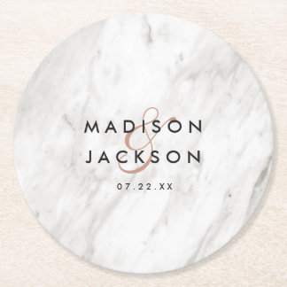 White Marble & Rose Gold Wedding Reception Party Round Paper Coaster