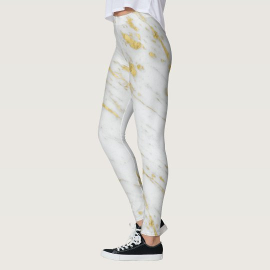 White Marble Spotted Gold Glitter Leggings