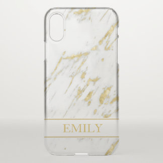 White Marble Stone And Gold Glitter iPhone X Case