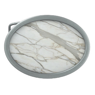 White marble stone printed belt buckle