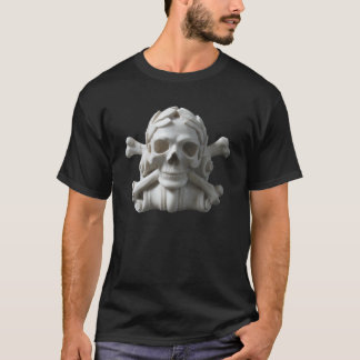 White Marble Stone Skull & Bones Black T-Shirt