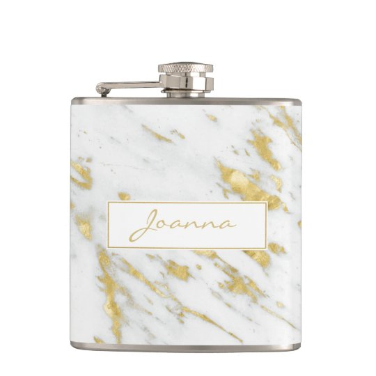 White Marble Stone Texture And Gold Glitter Flask