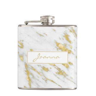 White Marble Stone Texture And Gold Glitter Hip Flask