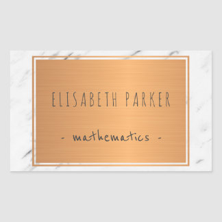White marble stone with copper label your name