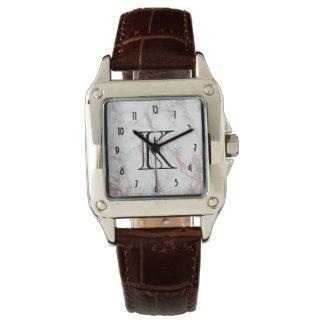 White Marble Texture Monogram Watch