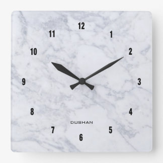 White Marble Texture Square Wall Clock