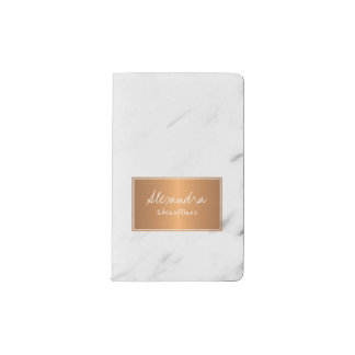 White marble with copper label elegant glam pocket moleskine notebook