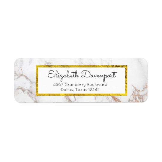 White Marble with Faux Gold Foil Frame Return Address Label