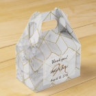 White Marble with Gold Cube Pattern + Monogram Favour Box