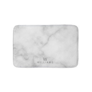 White Marble with Personalized Monogram and Name Bath Mat
