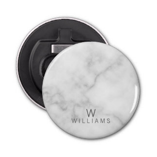 White Marble with Personalized Monogram and Name Bottle Opener