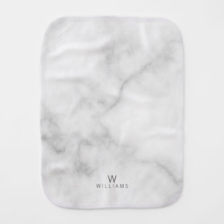 White Marble with Personalized Monogram and Name Burp Cloth