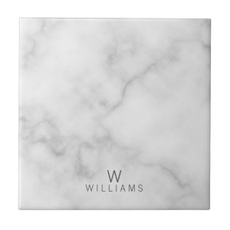 White Marble with Personalized Monogram and Name Ceramic Tile