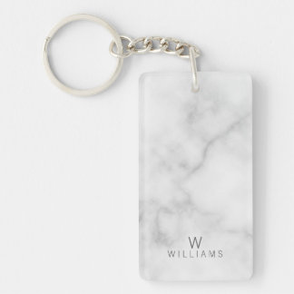 White Marble with Personalized Monogram and Name Key Ring