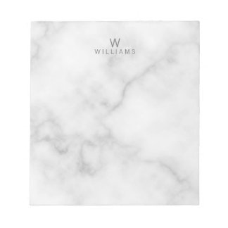 White Marble with Personalized Monogram and Name Notepad