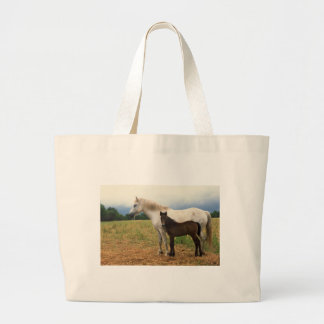 White Mare with Bay Foal Jumbo Tote Bag