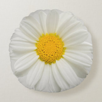 White Marguerite Daisy Chrysanthemum Round Pillow