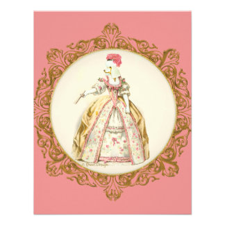 White Marie Antoinette Poodle in Pink Custom Announcements