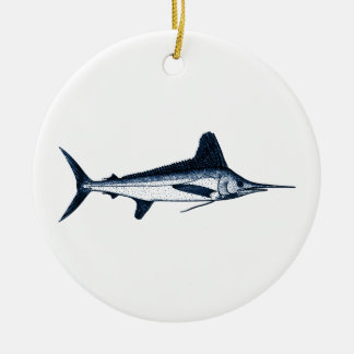 White Marlin Logo Ceramic Ornament