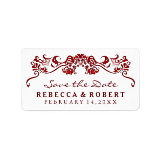 White & Maroon Red Fancy Save the Date Label Address Label