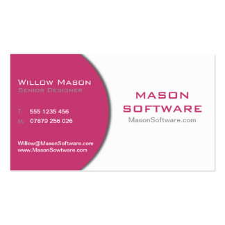 White & Maroon Technology Business Card