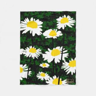 White Meadow Blossoms Green Fleece Blanket