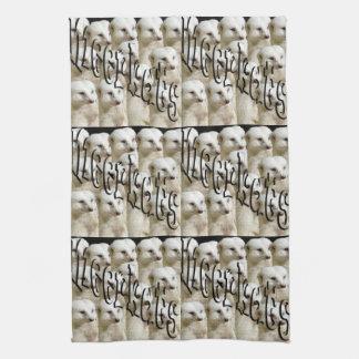 White Meerkat Army And Meerkats Logo Tea Towel. Tea Towel