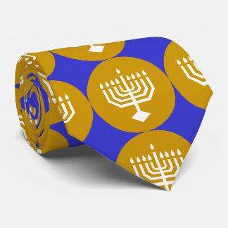 White Menorah on Gold Circles Tie