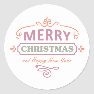White Merry Christmas Happy New Year Stickers